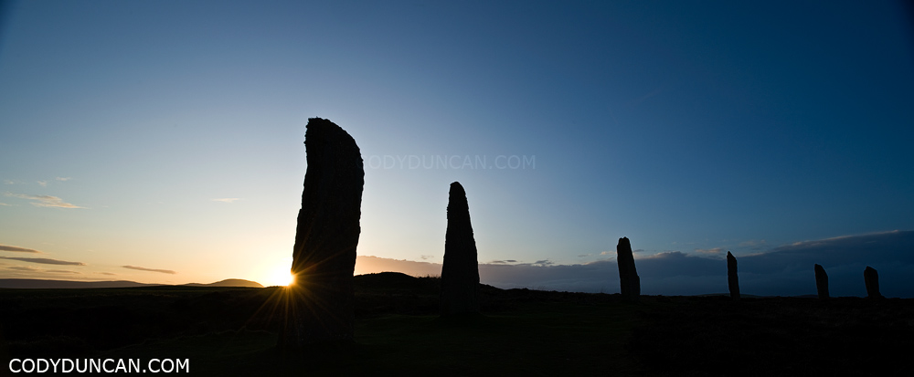 Sunset panoramic photo Ring of Brodgar standing stones, Orkney, Scotland