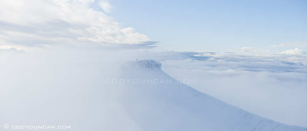 Panoramic landscape photography: Corn Du hidden in clouds, Brecon Beacons, Wales