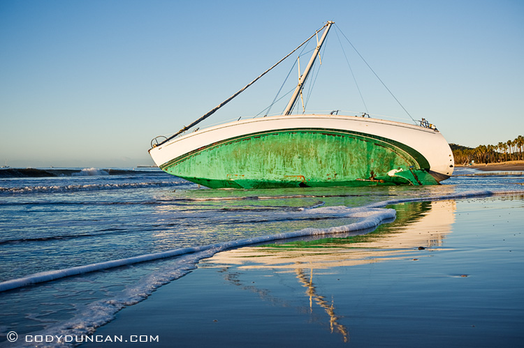 Santa Barbara, California - Beached sailboat after el nino winter storm, January 2010