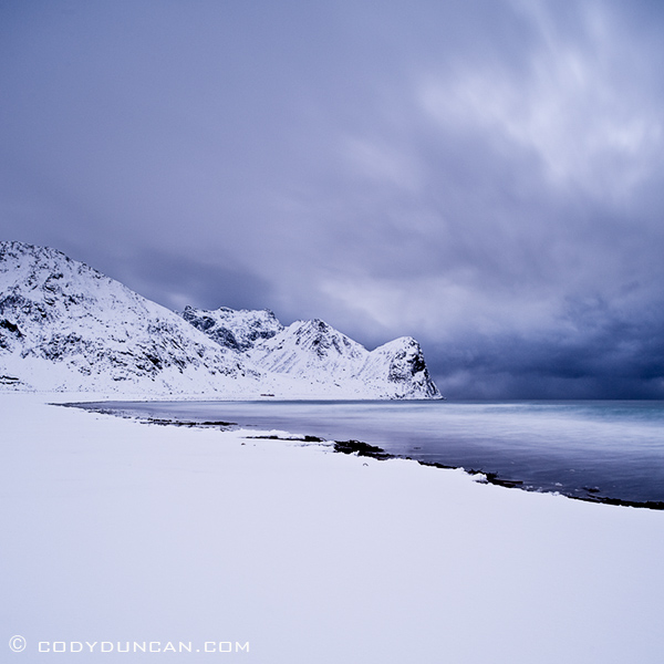 Snow covered beach, Unstad, Lofoten islands, Norway