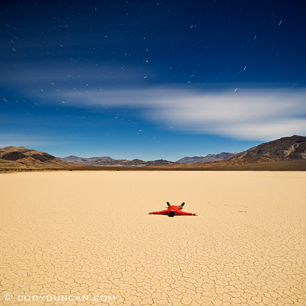 Night photography at Devil's Racetrack playa, Death Valley national park, California