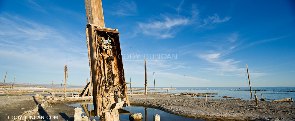Bombay Beach, Salton Sea, California panoramic stock travel photography