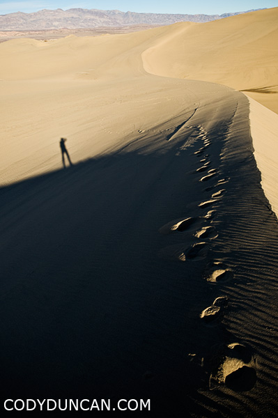 California travel photographer Cody Duncan - Self portrait on sand dunes in Death Valley