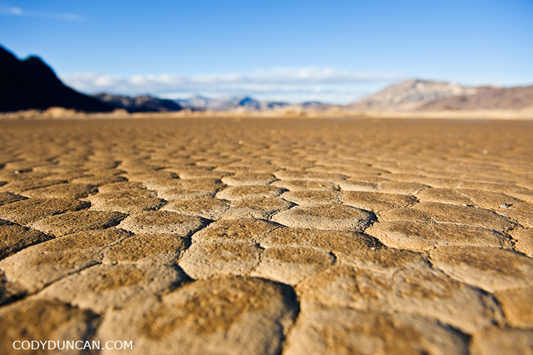 Dry mud patterns in devils racetrack playa dry lakebed, death valley, California