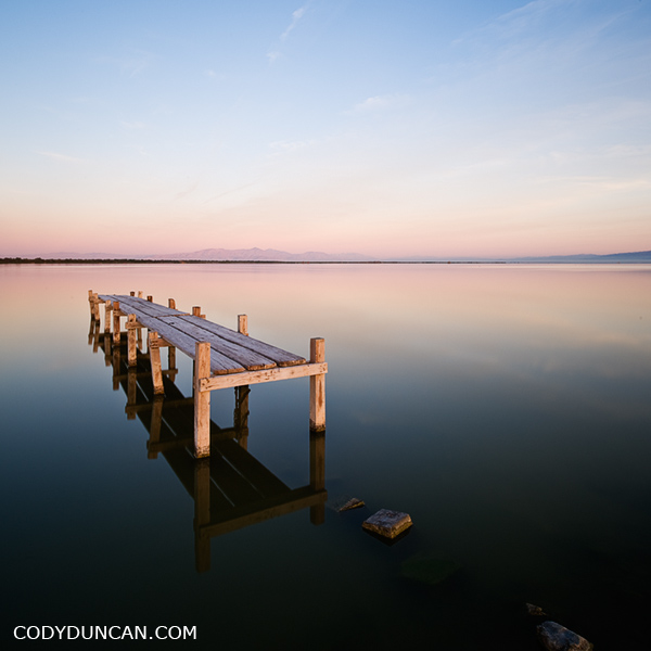photo of old dock in water, Salton Sea, California