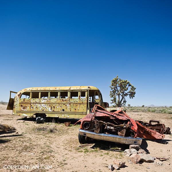 Abandoned bus Mojave desert california