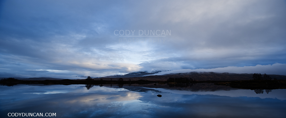 Panoramic scottish landscape image - Loch Ba, Rannoch Moor