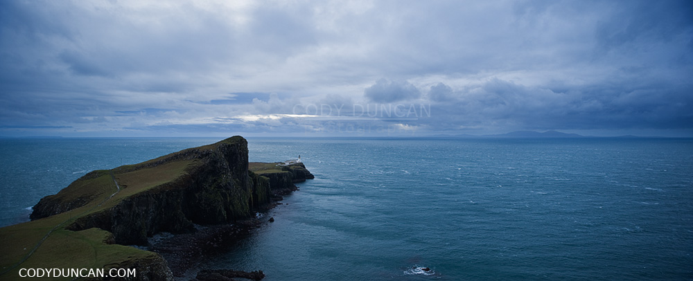 Neist Point Lighthouse panoramic landscape photo, Isle of Skye, Scotland