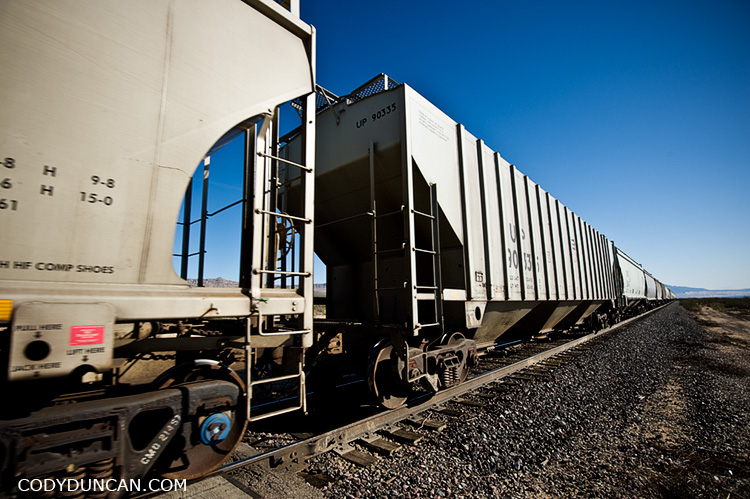 Train traveling through Mojave Desert, California