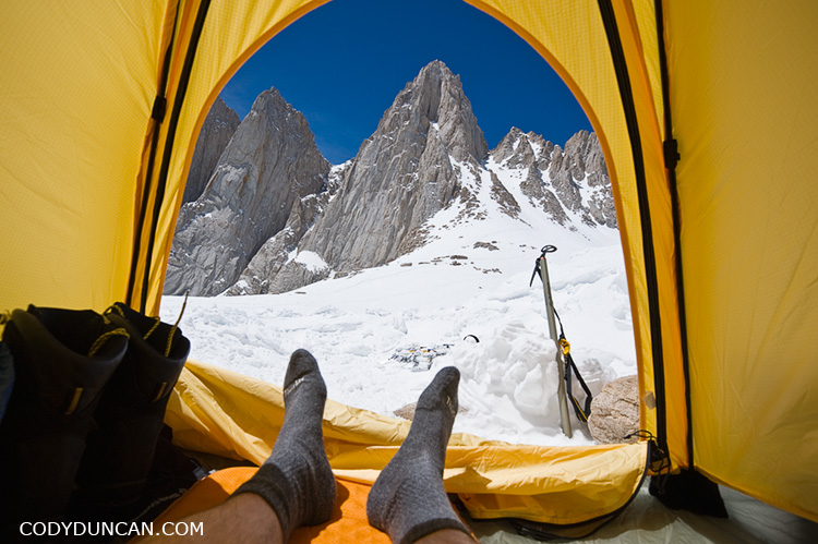Adventure travel stock photography - View from tent to Mount Whitney, California