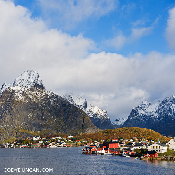Landscape photo Reine in Autumn, Lofoten Islands, Norway