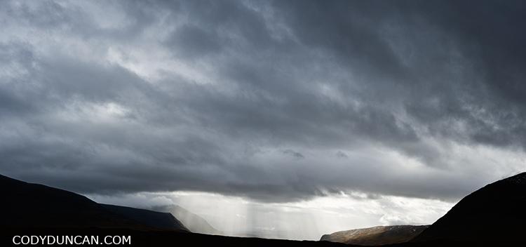 Kungsleden trail autumn rain storm sweden