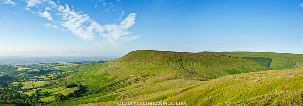 Hay Bluff panoramic stock photo, Black mountains, Wales