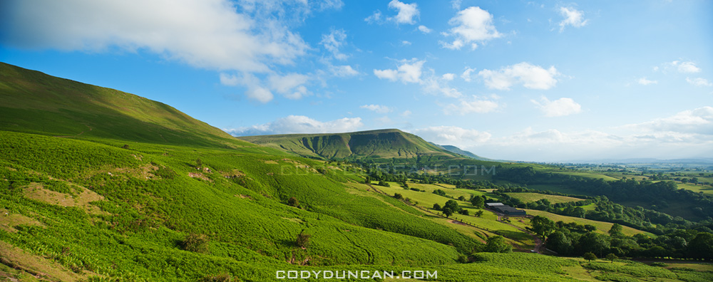 Twmpa and welsh countryside, Brecon Beacons national park, Wales