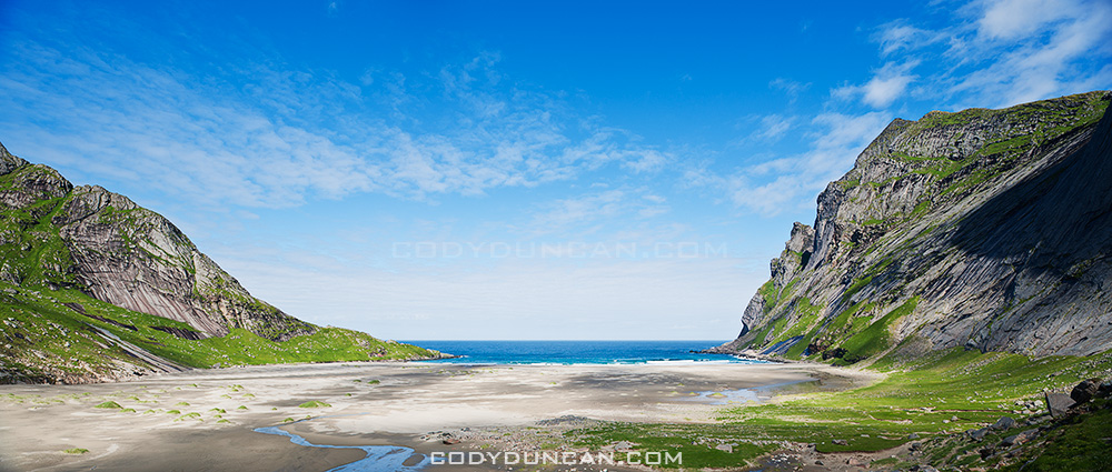 Bunes Beach panoramic photo, Lofoten islands, Norway