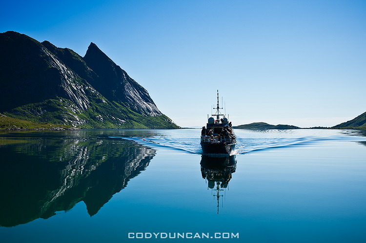 Reine ferry boat in Fjord, Lofoten islands