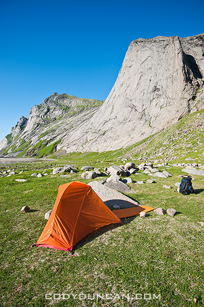 camping at Bunes Beach, Lofoten islands, Norway