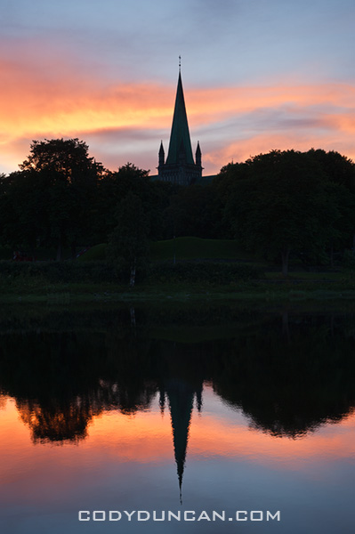 Nidaros Cathedral river reflection, Trondheim, Norway