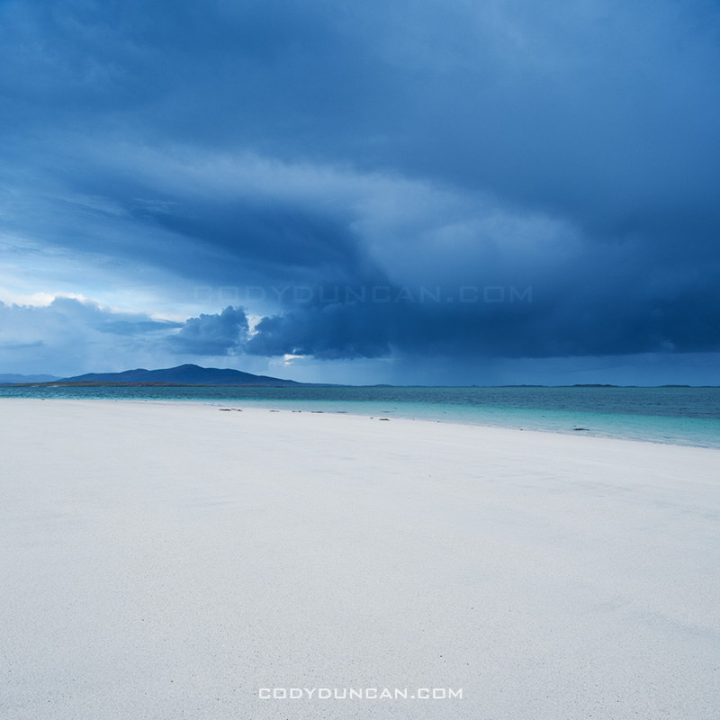 Storm over beach, Berneray, Scotland