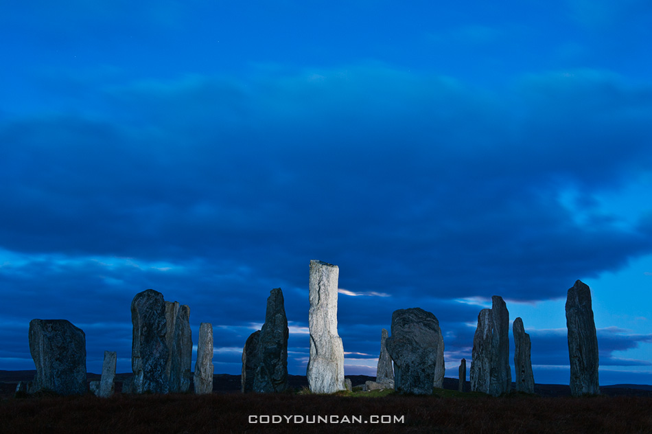 Evening sky over Callanish standing stones, Isle of Lewis, Outer Hebrides, Scotland