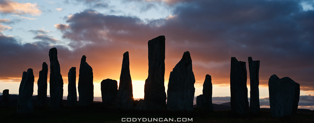 Silhouette of Callanish standing stones, Isle of Lewis, Outer Hebrides, Scotland