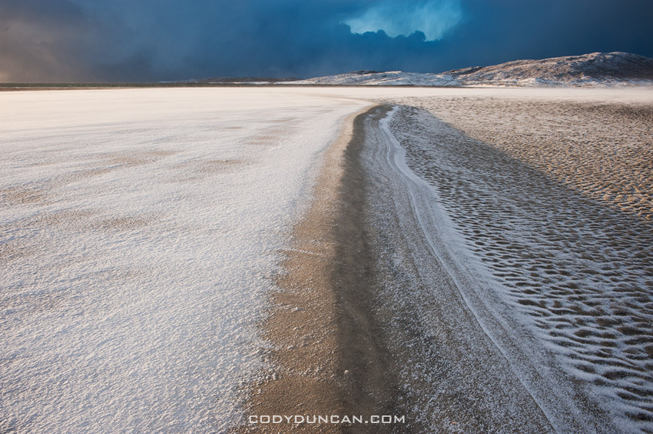 Luskentyre beach winter snow isle of harris