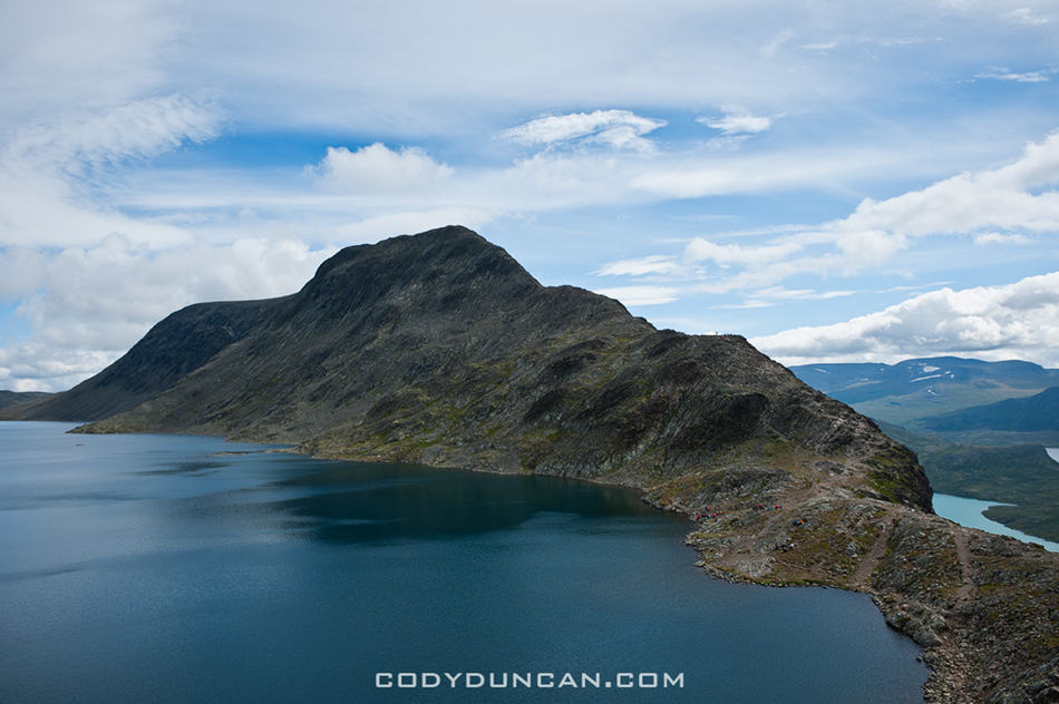 View of Besseggen ridge and Bessvatnet lake, Jotunheimen national park, Norway