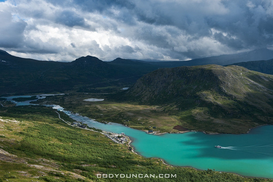 View towards Gjendesheim and lake Gjende, Jotunheimen national park, Norway