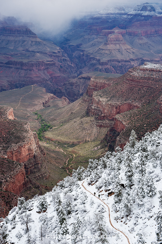 Bright angel trail grand canyon snow