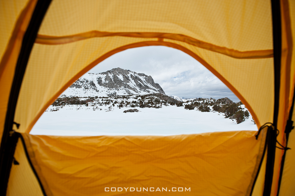 view from tent in winter