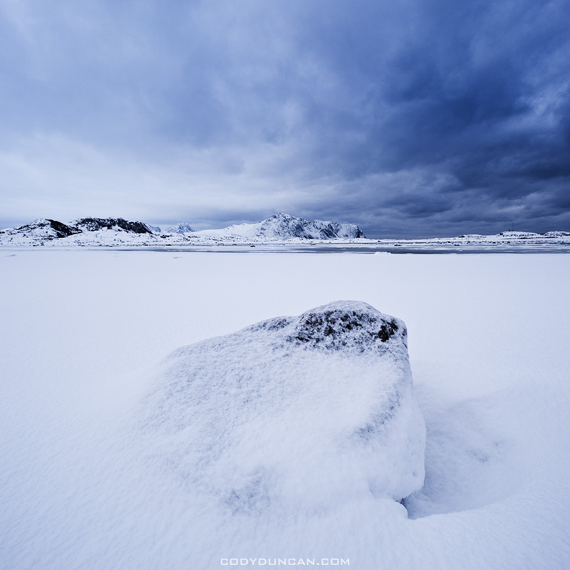 Lofoten islands winter landscape photo, Norway