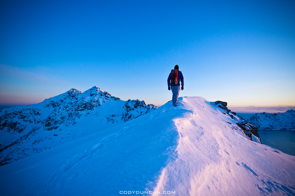 Lofoten islands winter hiking