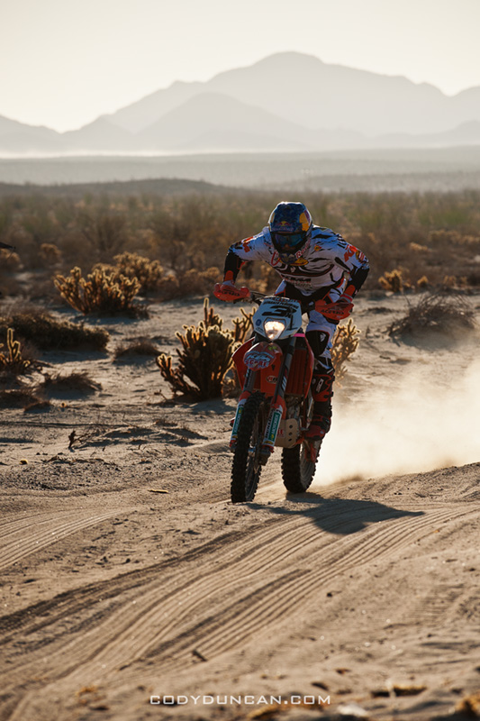 3x KTM motorcycle of Kurt Caselli/Ivan Ramirez pass race mile 58 in 2012 San Felipe Baja 250, San Felipe, Baja California, Mexico. 1st place motorcycle finishers