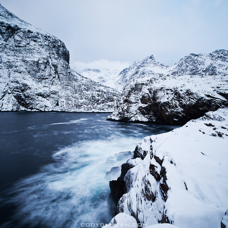 Lofoten islands norway winter landscape photo