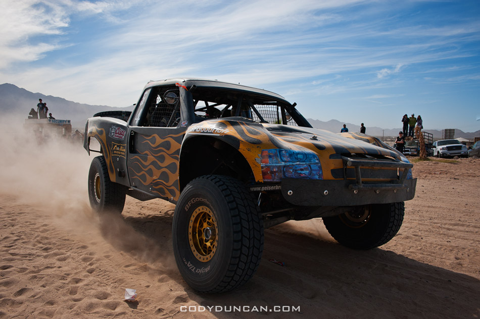 Jesse James trophy truck arrives at finish of 2011 San Felipe Baja 250