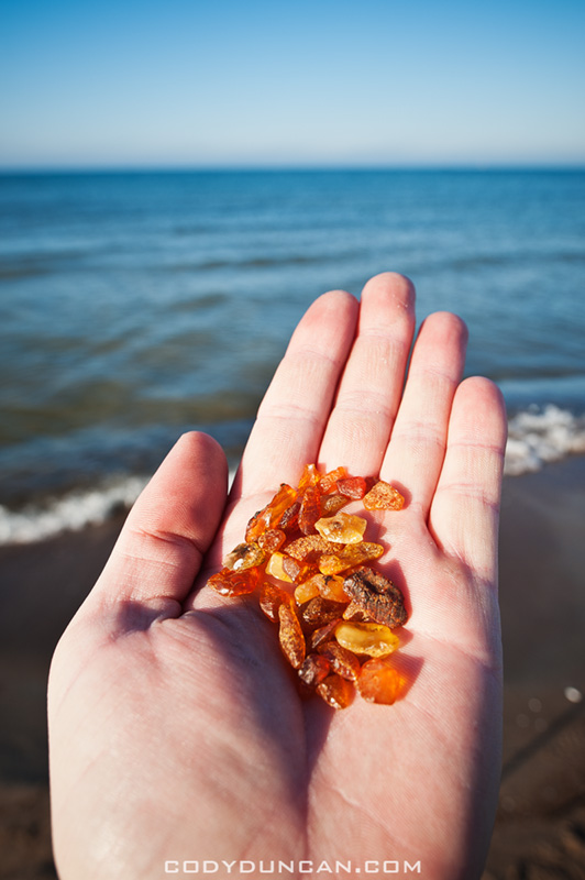 Hand holding amber found on beach