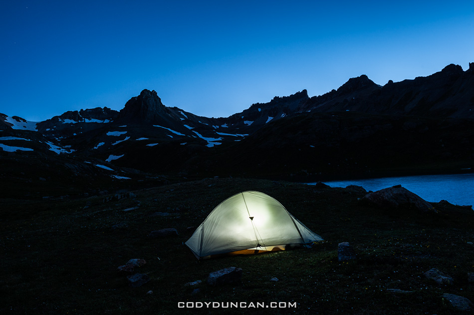 Camping at Ice Lake Basin, San Juan Mountains, Colorado