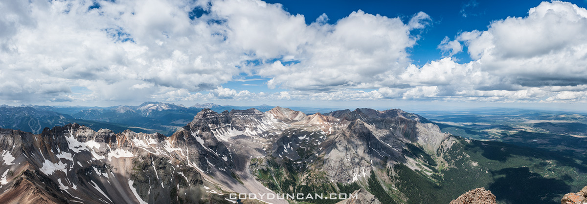 Panoramic view from summit of mt. Sneffels, Colorado