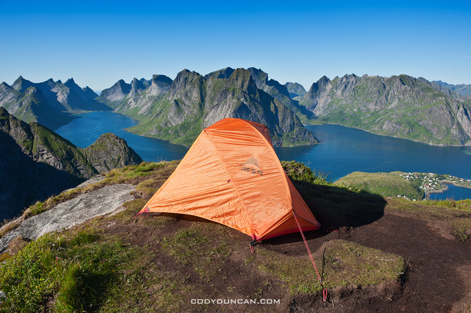 Lofoten Islands Norway mountain camping Reinebringen