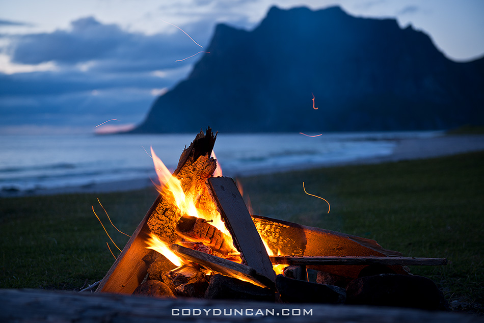 utakleiv lofoten islands camping campfire