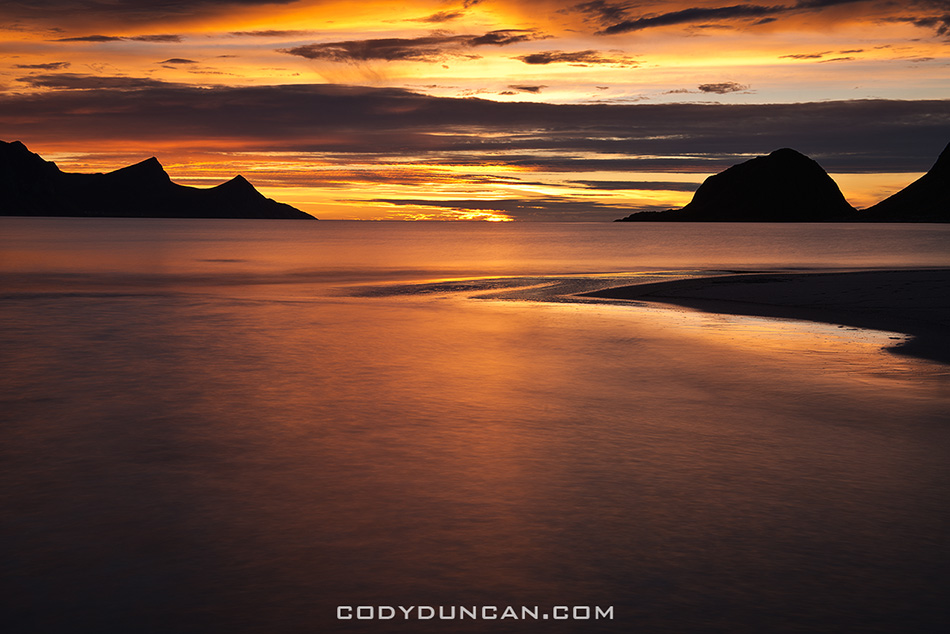 Haukland Beach sunset lofoten islands norway