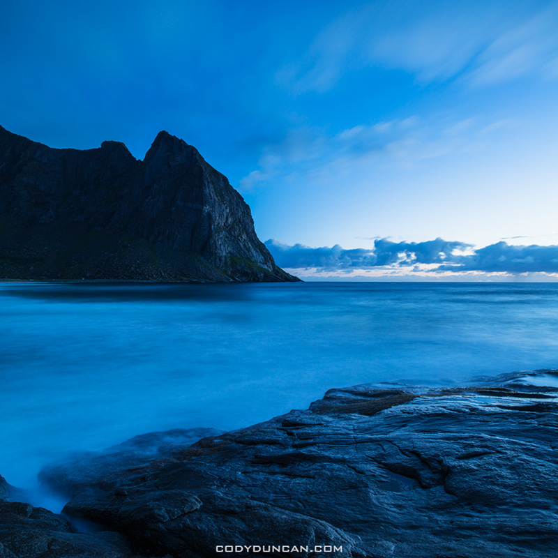 evening twilight at Kvalvika beach, Lofoten Islands, Norway