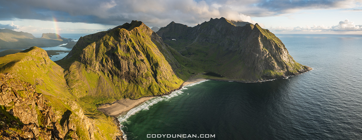 Kvalvika beach panoramic lofoten islands norway