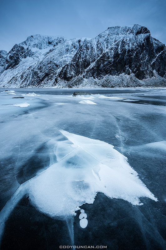 ice on Nedre Heimdalsvatnet, Eggum, Lofoten Islands, Norway
