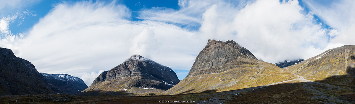 Panoramic view of Ladtjovagge viewed from near Kebnekaise Fjällstation, Lappland, Sweden