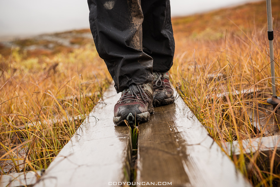 Hiking boots rain kungsleden trail sweden