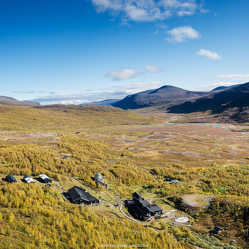 Autumn view over STF Kebnekaise Fjallstation mountain hut, Lappland, Sweden