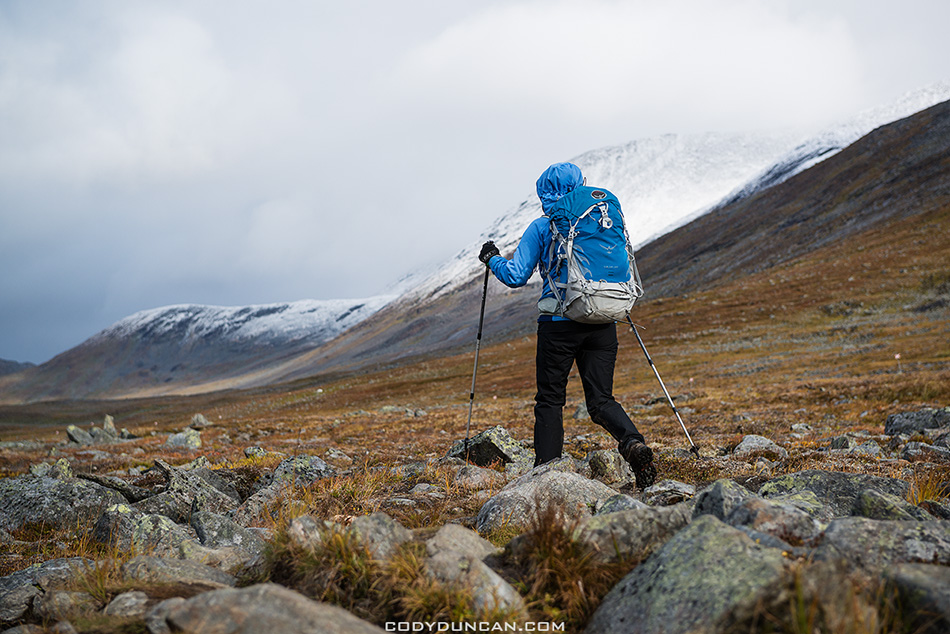 Hiking Kungsleden trail Sweden