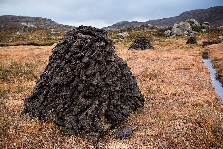 peat cutting, isle of harris, Scotland