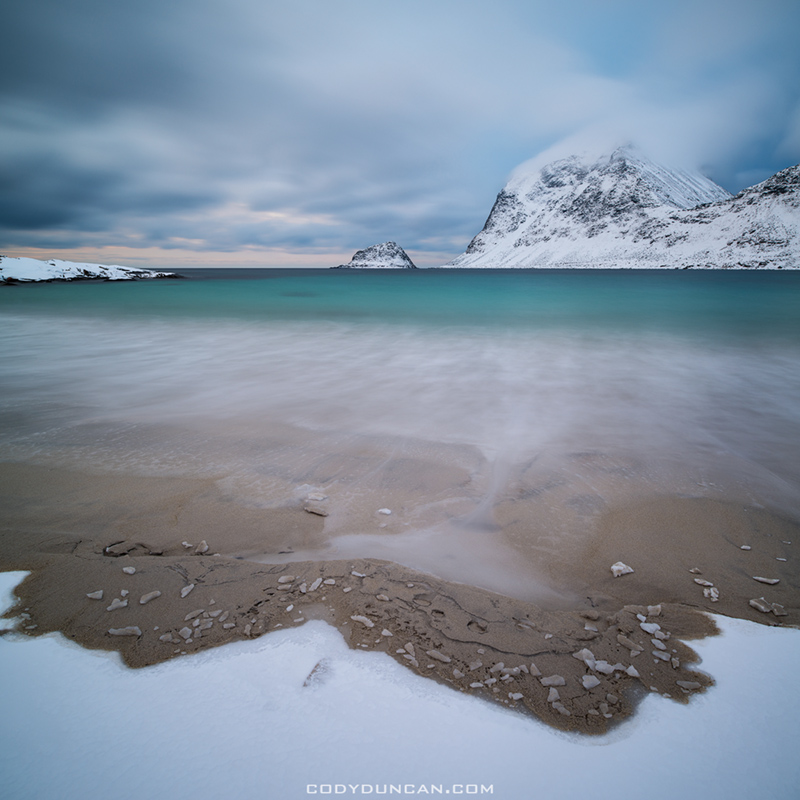 Vik beach winter Lofoten Islands, Norway